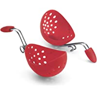 Cuisipro 747183 Egg Poacher Set Silicone 2 Piece Carded Set, Red