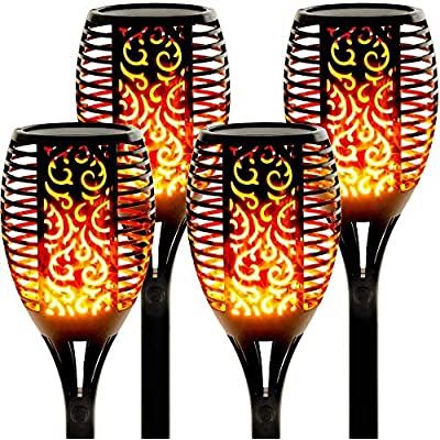 StillCool Flame Solar Lights Outdoor LED Landscape Lighting Path Lights Waterproof Flame Flickering Lamp Torch Dusk to Dawn Auto On/Off Security for Garden Yard Patio : Garden & Outdoor