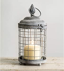 Rounded Cage Candle Lantern - Metal Lantern Candle Holder, Rustic Indoor / Outdoor Light for Your Home Decor - Modern Rustic Vintage Farmhouse Style