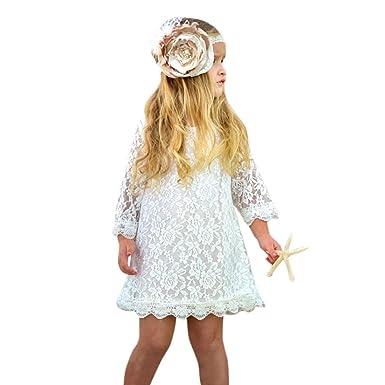 50e5e96cb4b5a OHQ Robe de Princesse en Dentelle à Manches Longues Pour Enfants Blanc  enfant Bas Âge Bébé