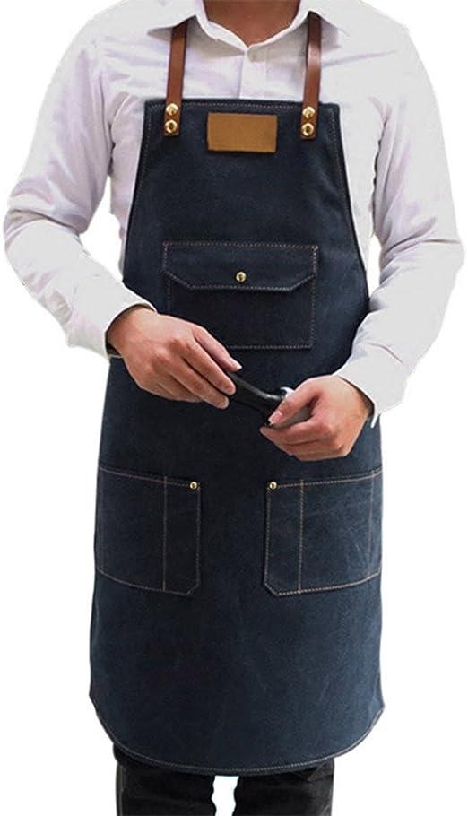 YUENA CARE Delantal de Lona Cocina Camarero Delantal de Trabajo Ajustable con Bolsillo para Mujeres y Hombres para Restaurante Cafeter/ía Azul
