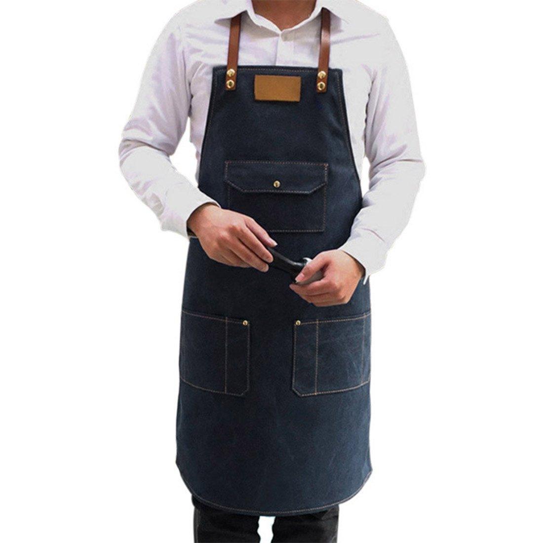 Jiyaru Chef Adjustable Denim Bib Apron with Pockets Kitchen Cooking Workwear for Men Women