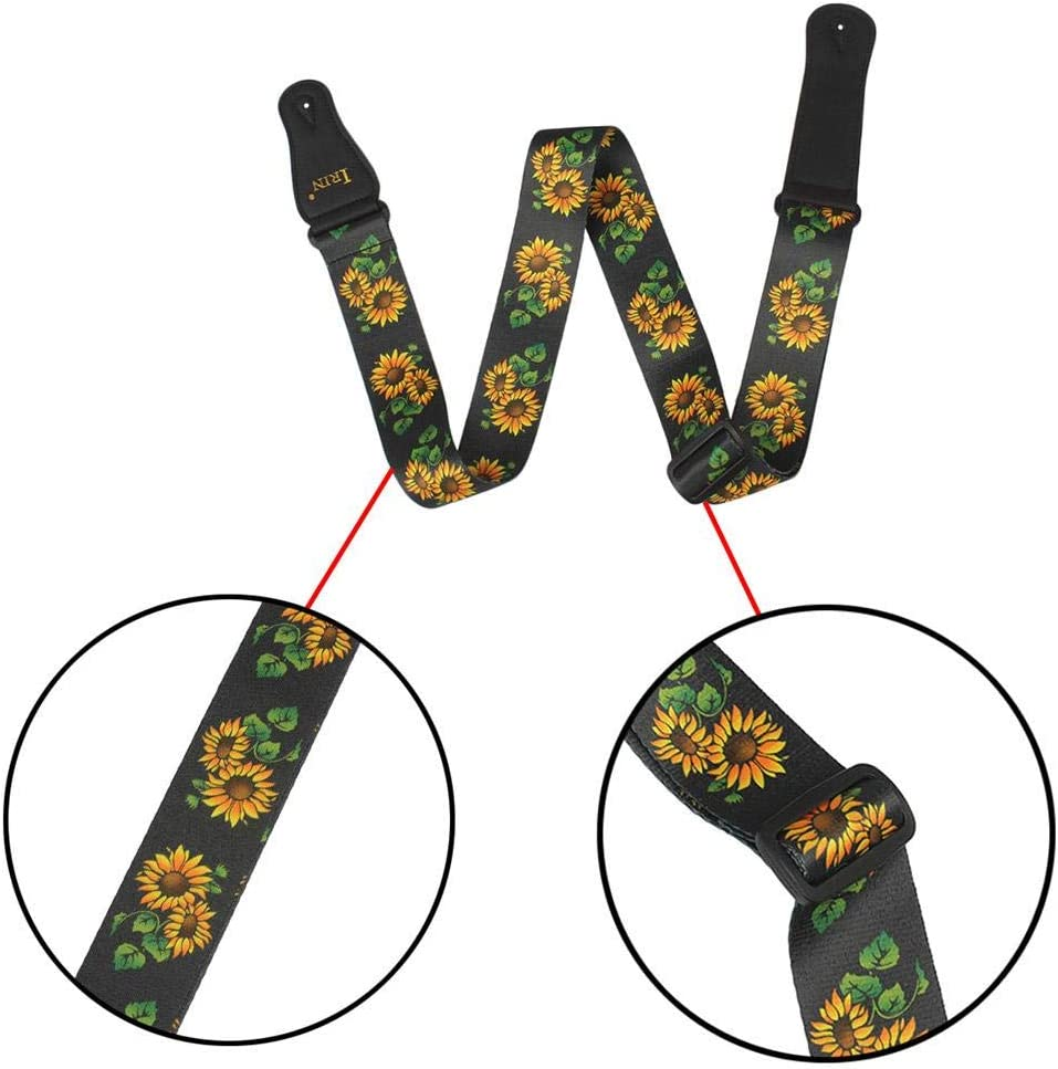 polyester comfortable sunflower floral pattern guitar accessory decompression strap equival Guitar strap