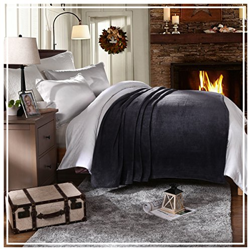 HYSEAS Coral Fleece Queen Size Plush Bed Blanket, Gray