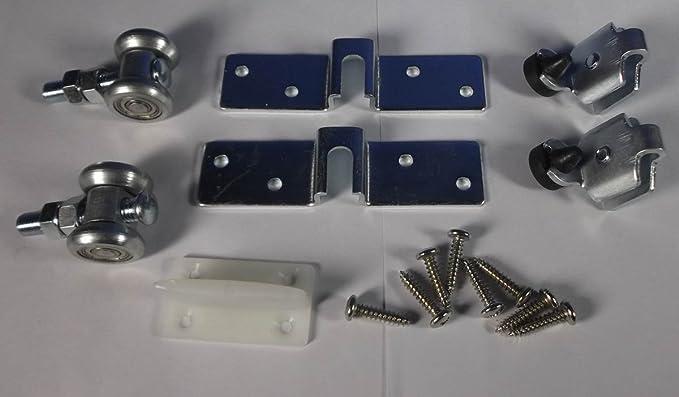SET - Rodillo de ruedas para puertas correderas suspendidas hasta 55 kg diapositiva carril aluminio 2 m (+ 30079 30073): Amazon.es: Bricolaje y herramientas