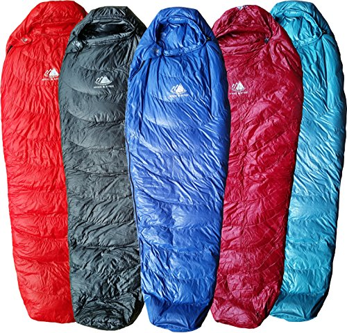 Hyke & Byke Ultralight Down Sleeping Bag: 3-Season 32 Degree Mummy Bag Under 2 LBS - The Lightest, Highest Quality Bag for Thru Hiking, Backpacking, and Camping (Blue, Regular)