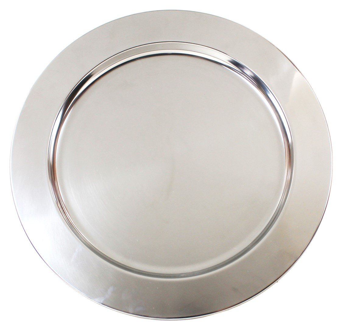 Ms Lovely Silver Stainless Steel Metal Charger Plates - Set of 4-13 inch