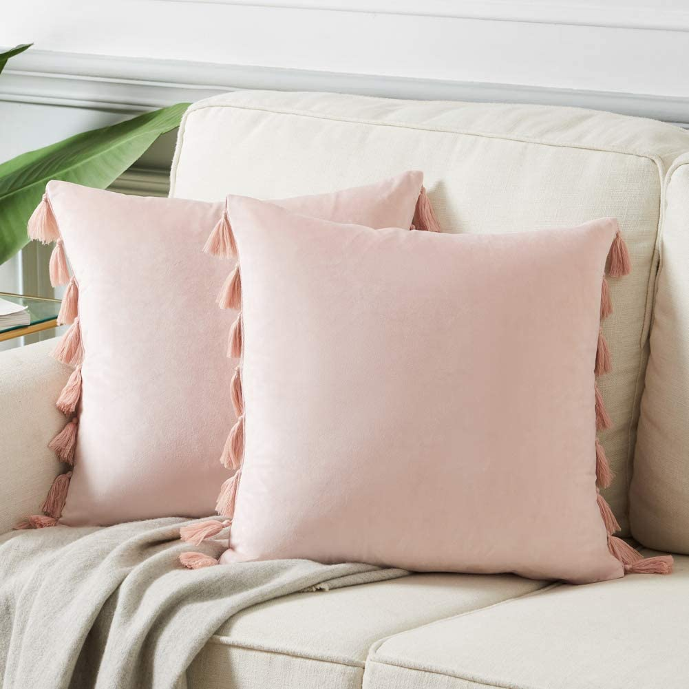 Fancy Homi Pack of 2 Cute Decorative Throw Pillow Covers with Handmade Tassels, Soft Velvet Peach Solid Square Cushion Case Set for Couch Sofa Bedroom Car Living Room (18x18 Inch/45x45 cm, Blush Pink)