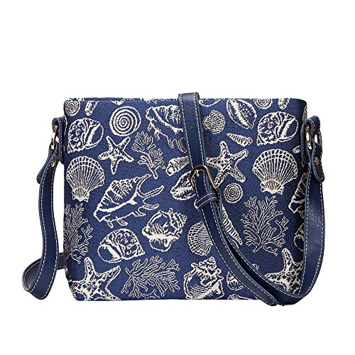 body SHELL Tapestry Satchel Bag Starfish Seashell Blue and Navy Cross Mini Women Signare with XB02 SXwpwq