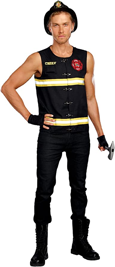 New Dreamgirl 10704 Fire Away Firefighter Mens Costume