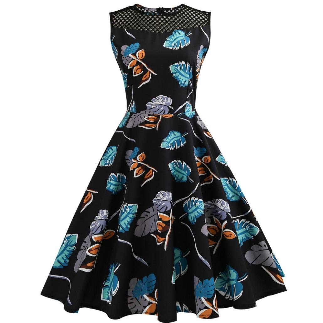 Alixyz Women 1950s Vintage Hollow Out Sleeveless Evening Party Prom Swing Dress