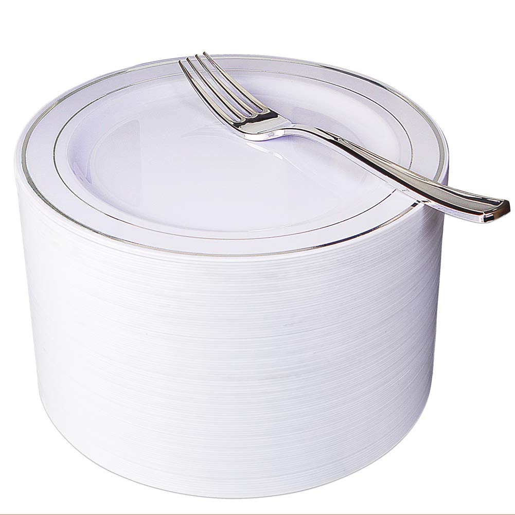 NERVURE 102 Heavyweight Plastic Disposable 7.5'' Small Plates & 102 Silver Plastic Forks, Perfect for Salads, Desserts, Parties, Catering, Wedding Cakes (silver)