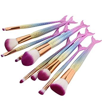 Amazon.com: Cinidy 10pcs Mermaid Makeup Brush Set Synthetic Kabuki ...