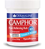 Dermaline - Camphor Ointment Pain Relieving Rub - Analgesic Ointment - Muscle Pain, Stiffness, Joint Pain - Pomada Analgesica de Alcanfor 2.5 Oz.