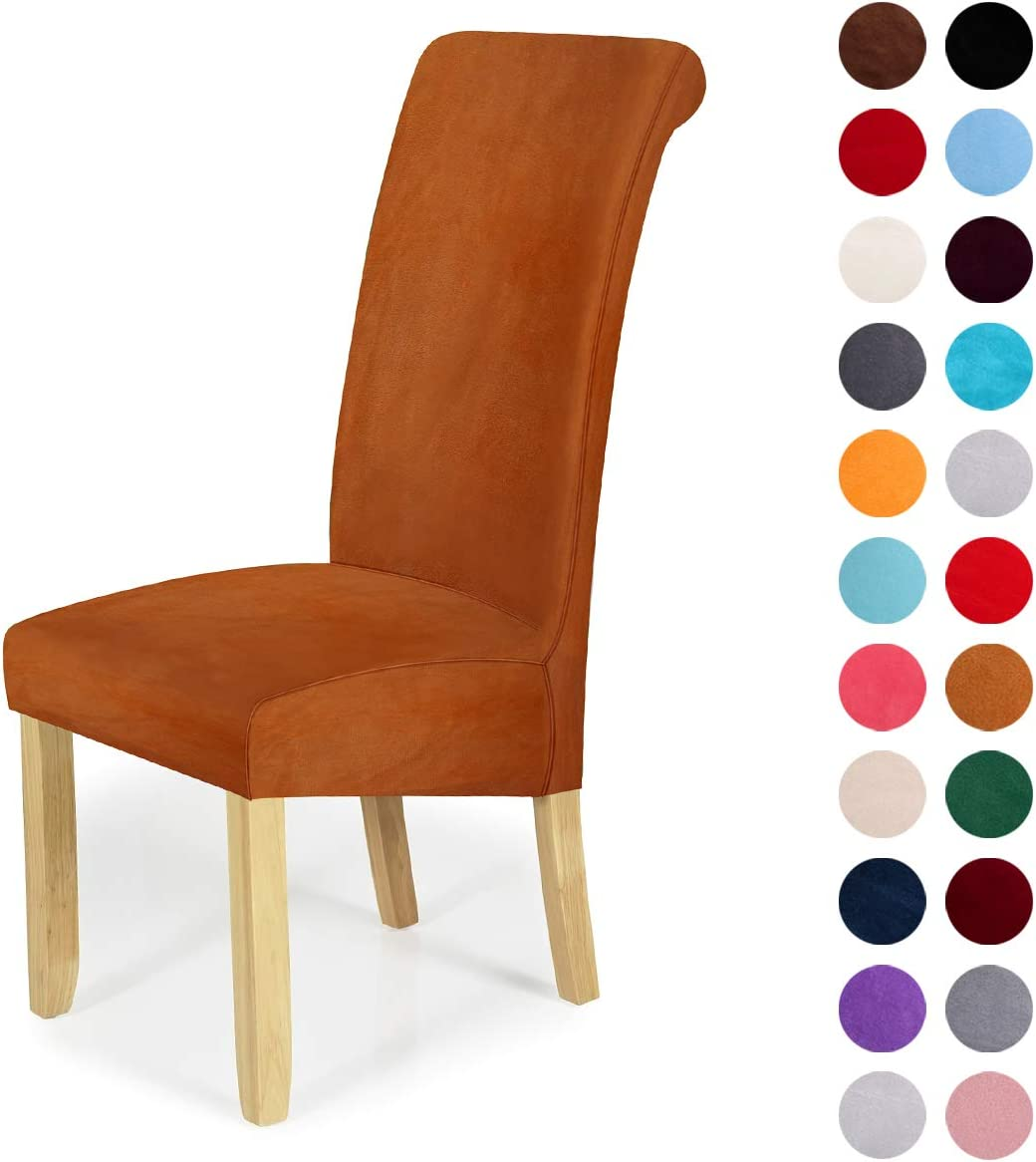 Velvet Stretch Dining Chair Slipcovers - Spandex Plush Short Chair Covers Solid Large Dining Room Chair Protector Home Decor Set of 2, Camel