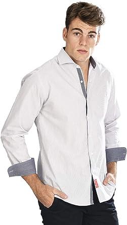 Camisa Manga Larga Blanca de Vestir, semientallada con Rayas Finas en Color Negro para Hombre - 2_S, Negro: Amazon.es: Ropa y accesorios