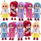 8 PCS Tiny Dolls, Silicone Princess Mini Doll for Girls, DIY Miniature Dollhouse Kit with Miniature Clothes, Decoration Little Dolls Christmas Festival Reborn Baby Stuff Gift & Bag Accessories 8cm
