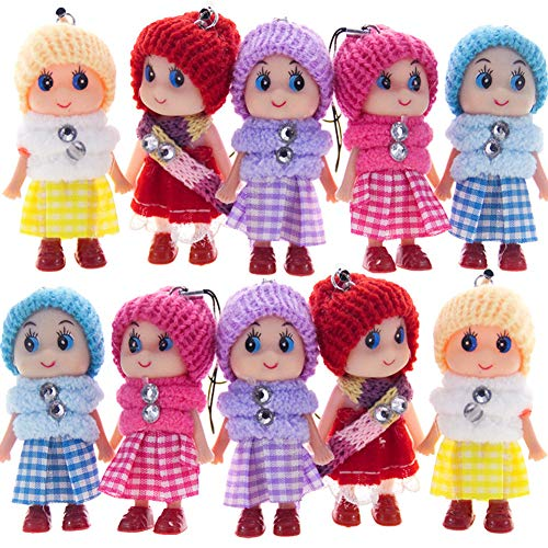- 8 PCS Tiny Dolls, Silicone Princess Mini Doll for Girls, DIY Miniature Dollhouse Kit with Miniature Clothes, Decoration Little Dolls Christmas Festival Reborn Baby Stuff Gift & Bag Accessories 8cm