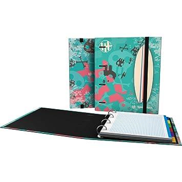 Grafoplás 88101935-Carpeta de 4 anillas con cierre de goma y lomo curvo, carpebook con diseño surf de Hans Tiessen: Amazon.es: Oficina y papelería