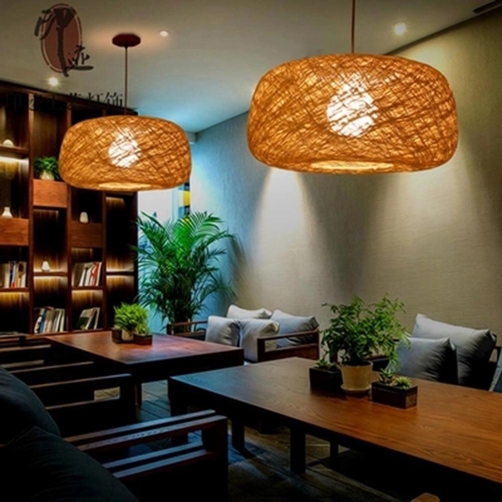 yellow GREEN HOME 1 1PC Restaurant Knitted Rattan Linen Pastoral Lighting Chandelier Shop Bird Nest Coffee E27 Bulb rattan lamp lamp /…