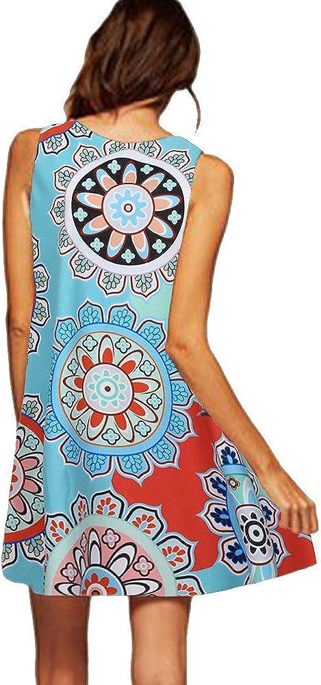 Momoxi Damen Kleid,Sommer Sleeveless Boho Druck beil/äufige Strand Weinlese Art und Weisekurzschluss Minikleid