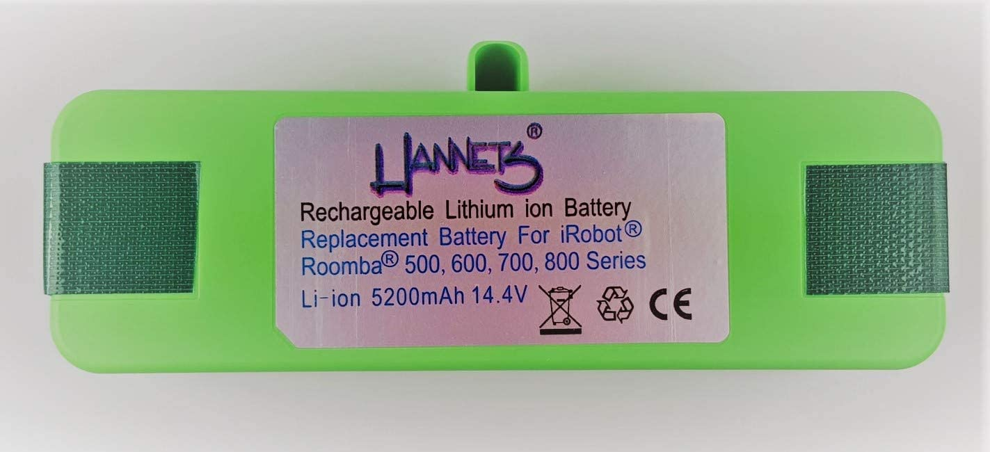 Hannets Li-Ion Batería Compatible con Las Series iRobot Roomba 500, 600, 700 y 800 I Batería i-Robot Roomba Batería Aspiradora robotizada I Batería Robot de succión 5400mAh Batería de Repuesto 14,4 V: