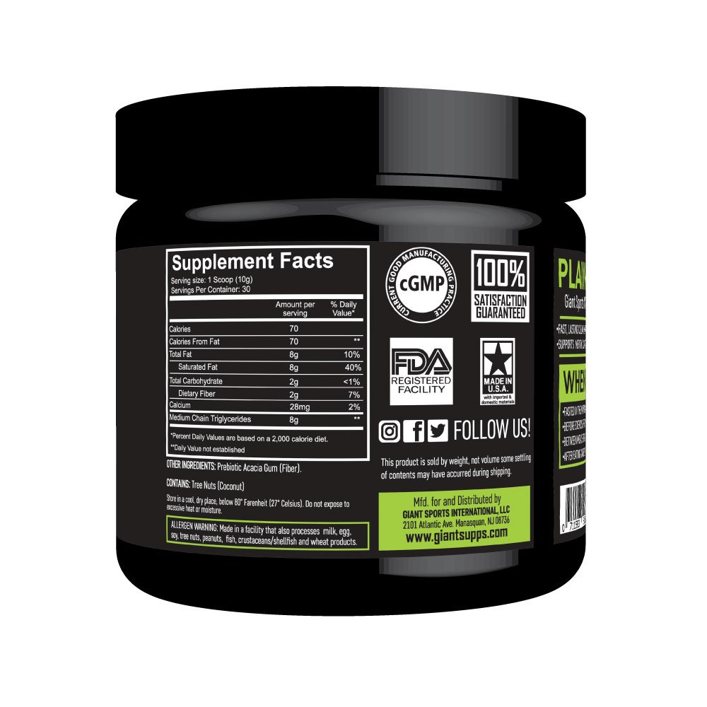 MCT Oil Powder with Prebiotic Acacia Fiber - 100% Pure Medium Chain Triglycerides - Designed for Ketogenic Diet to Control Appetite, Boost Ketone Production and Clean Energy. 30 Servings - Unflavored by Giant Sports (Image #2)