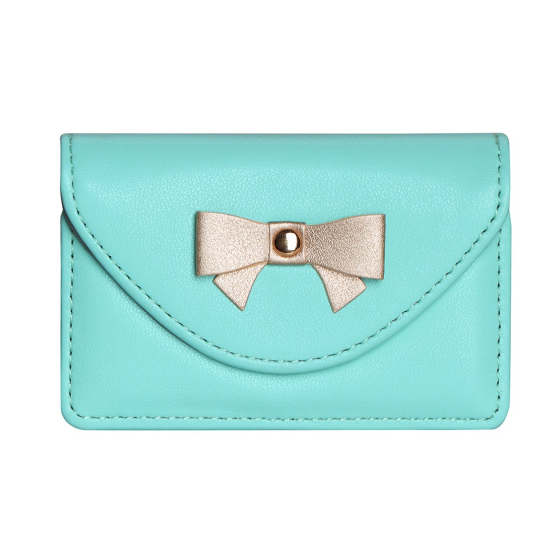 FYY 100% Handmade Premium Leather Business Name Card Case Universal Card Holder with Magnetic Closure (Hold 30 pics of cards) Mint Green