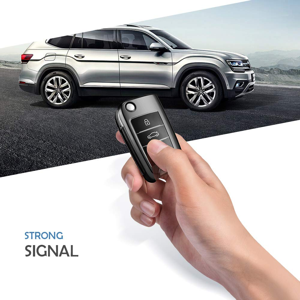 OATSBASF Funda para Llave DE para Coche VW VW Polo Golf 6 Skoda Seat - 2-3 Botones Carcasa [Suave] de [TPU] para Llaves - Cover de Mando y Control de ...