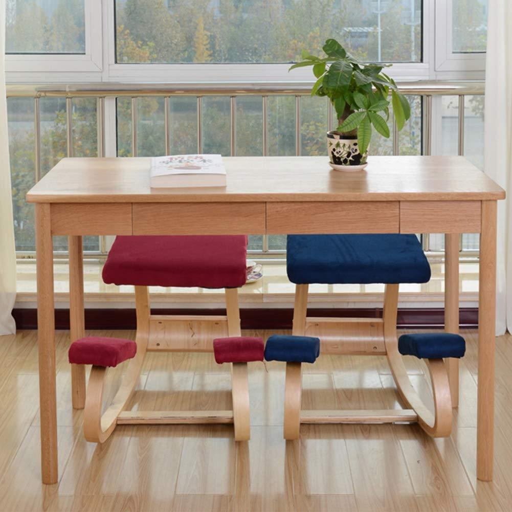 X&JJ Ergonomisk knästol gungställning träpall med stort säte och tjocka knäkuddar för hemmakontor, korrigering sittande position Lila Röd