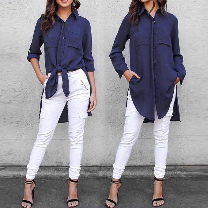 ❤ Camisas Mujer,Modaworld Camisa de Manga Larga con Volantes para Mujer Camisetas y Tops Blusa Elegantes señoras Camisa de Vestir de Oficina de Trabajo: ...