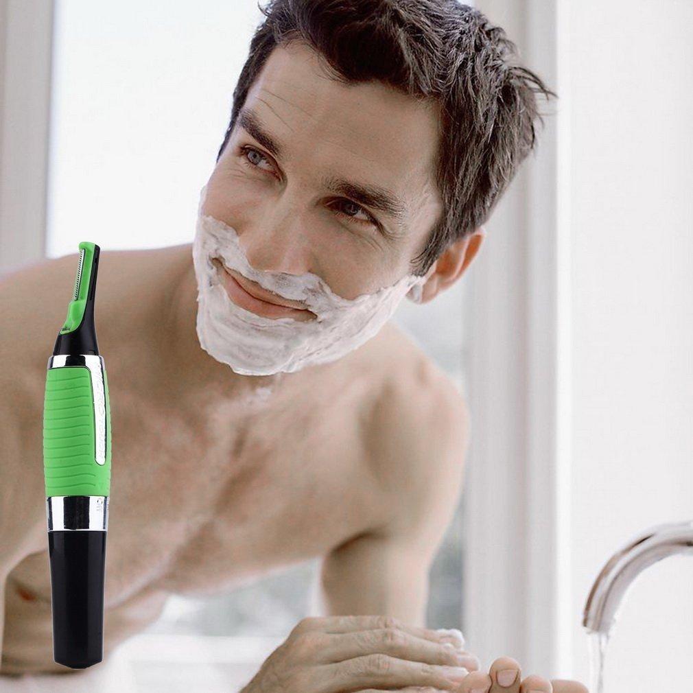 Personal Hair Trimmer Built-in LED Light Multifunctional Hair Remover Ear Nose Neck Eyebrow Trimmer Men Shaving Razor(Color:Green & Black) Dailyinshop