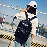 DDLBiz Women Men Holographic Rucksack Shoulder Bookbags School Satchel Travel Backpack (Black)