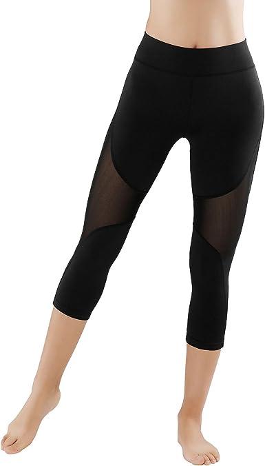 GoVIA Lot de 2 Legging pour Femme Pantalon de Course à Pied avec empiècements en Mesh Fitness Yoga Pantalon de Sport Taille Haute Tissu Maille