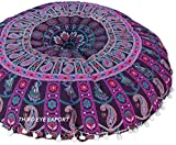 Third Eye Export - 32 in Mandala Barmeri Large Round Floor Pillow Cover Cushion Meditation Seating Ottoman Throw Cover Hippie Decorative Zipped Bohemian Pouf (Purple 2)