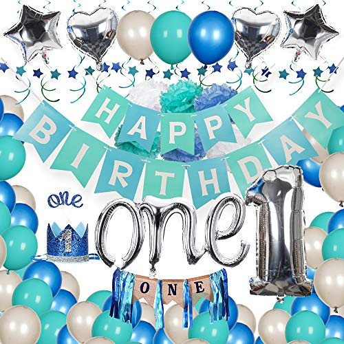 Baby Boy 1st Birthday Decorations Kit - Silver and Blue Decor for Little Man First Birthday Party - Boy 1st Birthday Decorations with 'ONE' High Chair Banner, One Cake Topper, 1st Birthday Boy Crown, Silver Number 1 Balloon