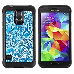 Hybrid Anti-Shock Defend Case for Samsung Galaxy S5 / Cool Vintage Badass Pattern wangjiang maoyi