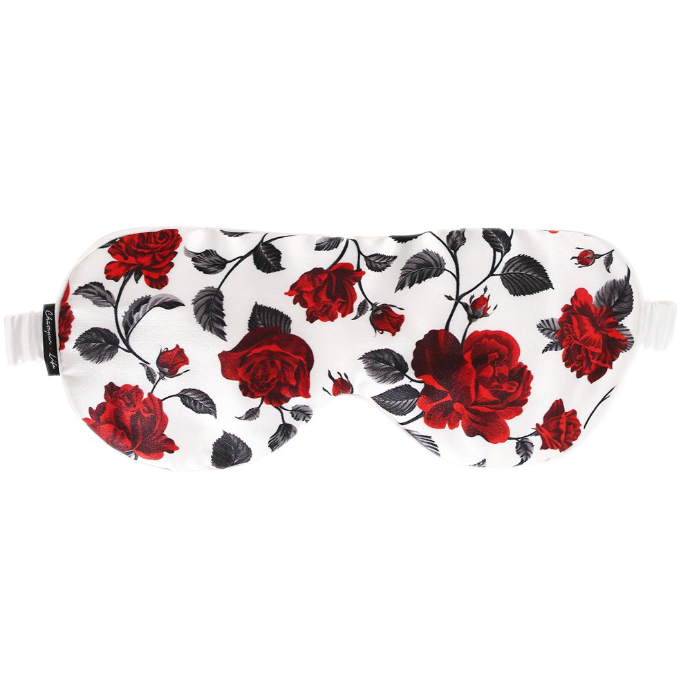 Chamo Pomeo Silk Comfortable Breathable Eye Mask Women Floral Printing Soft Eyeshade White 4.1x9 Inches (white)