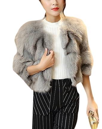 Lingswallow Women's Fashion Warm Shaggy Short Faux Fur Coat Cropped Jacket  Beige