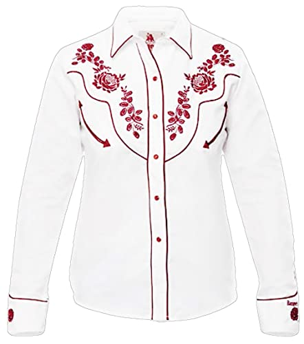 Modestone Women'S Embroidered Fitted Western Camisa Vaquera Floral White