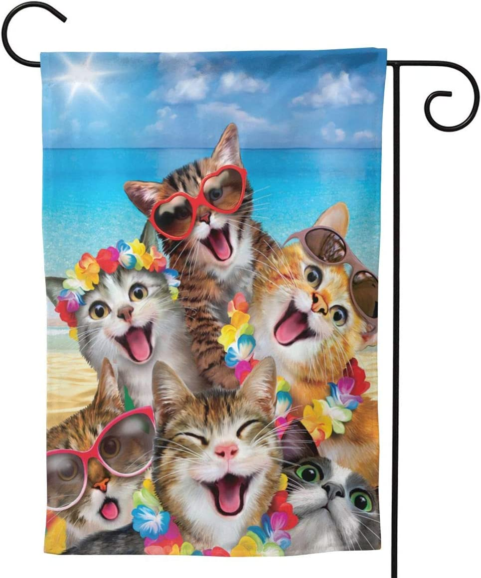 YISHOW Summer Beach Happy Cat Garden Flag Double Sided Vertical House Flags Summer Beach Happy Cat Yard Signs Outdoor Decor 12.5 X 18 Inch