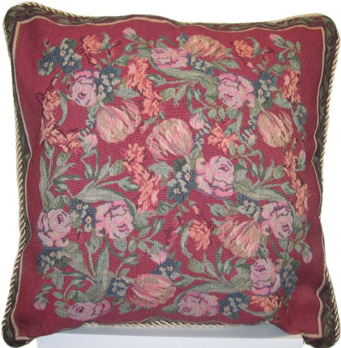DaDa Bedding DP-5594 Field of Roses Woven Decorative Pillow,