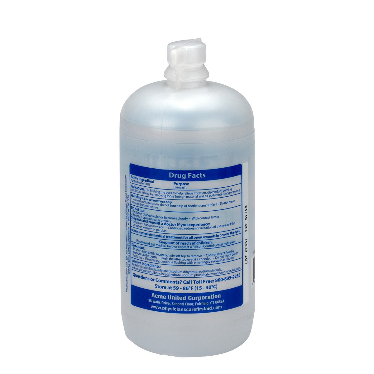 PhysiciansCare by First Aid Only 500-90547 Eyewash Bottle, 32 oz. (Pack of 12) by First Aid Only (Image #4)