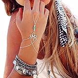 Lisingtool Women's Retro Bracelet Finger Ring Bangle Retro Bracelet Finger Ring Bangle Slave ChainChain (White)