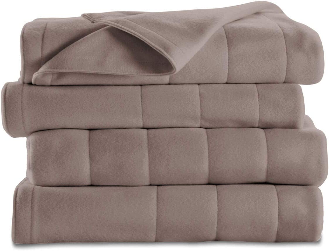 Sunbeam Royal Dreams Twin Quilted Fleece Electric Blanket Mushroom Washable Auto Shut Off 10 Heat Settings
