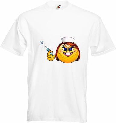 T-Shirt Camiseta Remera Smiley Dame AS Enfermera con la jeringa Smileys LOS Smilies Android iPhone EMOTICONOS iOS sa Emoticon Sonrisa App en Blanco: Amazon.es: Ropa y accesorios