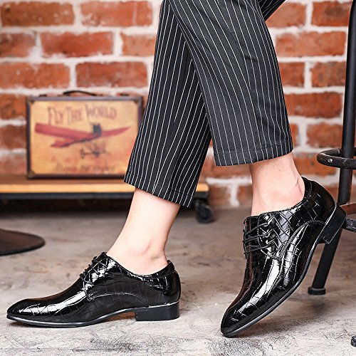 2018 Scarpe stringate basse, Scarpe da uomo in pelle PU Pelle di serpente Texture Lace up superiore Business Oxford traspirante Low Top foderato Oxford ( Colore : Rosso , dimensione : 42 EU ) Nero