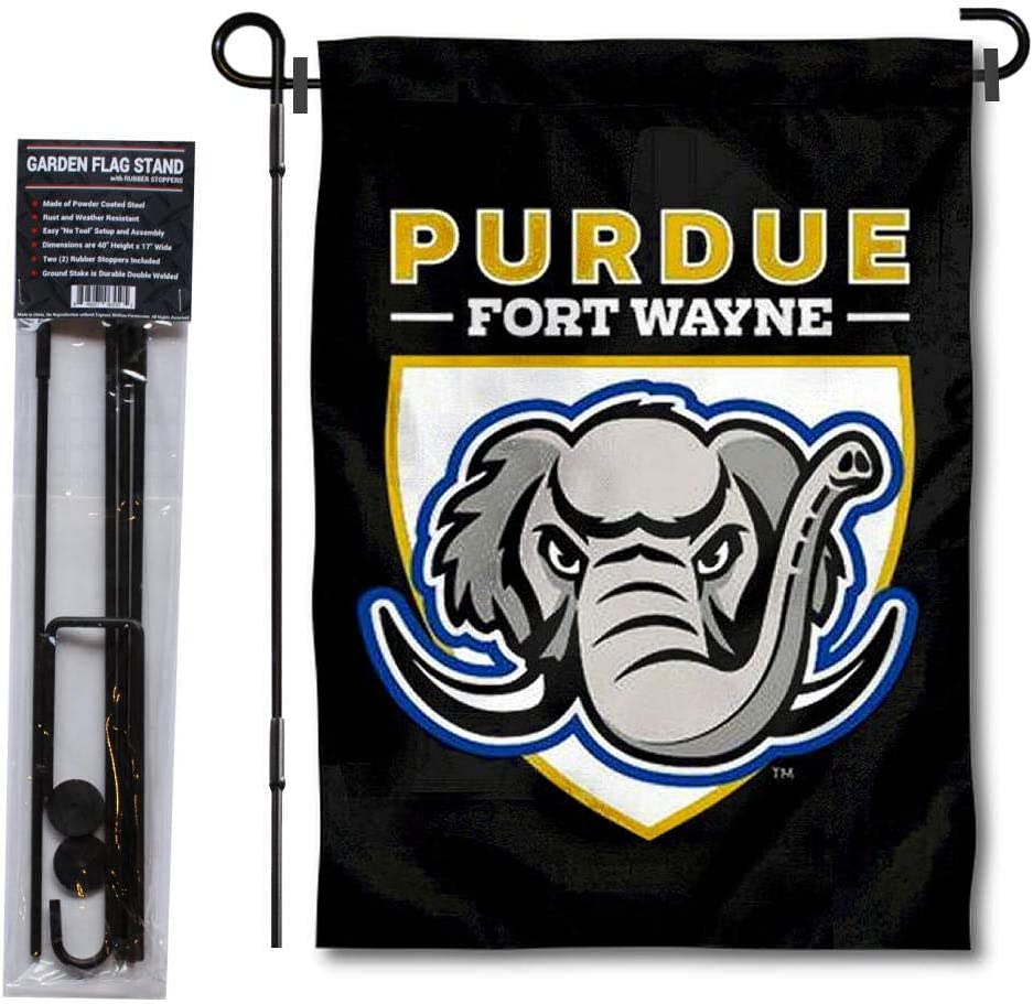 College Flags & Banners Co. Indiana Purdue Mastodons Garden Flag and Flag Stand Pole Holder Set