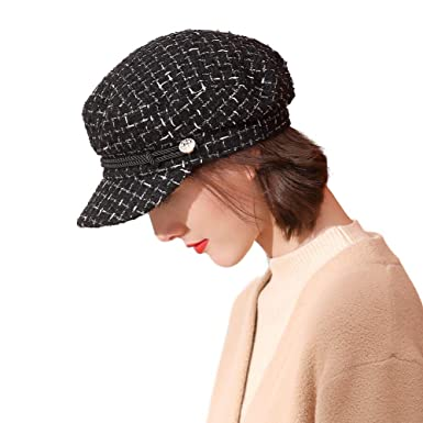 9812be584f0fb Ladies Houndstooth Baker Boy Cap Newsboy Casual Peaked Beret Elegant Winter  Hats for Women Adjustable(2 Sizes