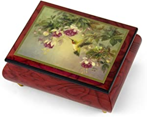 Handcrafted Ercolano Music Box Featuring Hummingbird W. Fuchsia by Lena Liu - Many Songs to Choose - Hark! The Herald Angels Sing